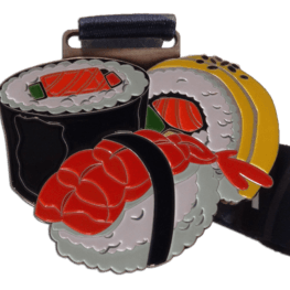 Virtual run medal sushi challenge